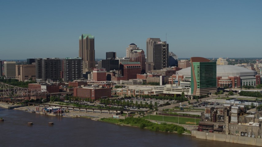 5.7K aerial video of flying away from skyscrapers and hotels in Downtown St. Louis, Missouri Aerial Stock Footage | DX0001_000601
