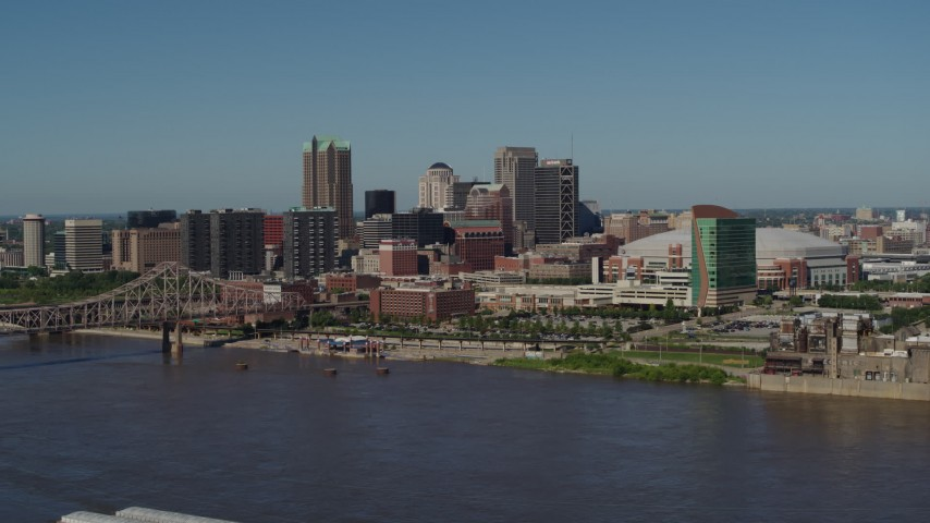 5.7K stock footage aerial video of the Downtown St. Louis, Missouri skyline seen from the Mississippi River Aerial Stock Footage | DX0001_000602