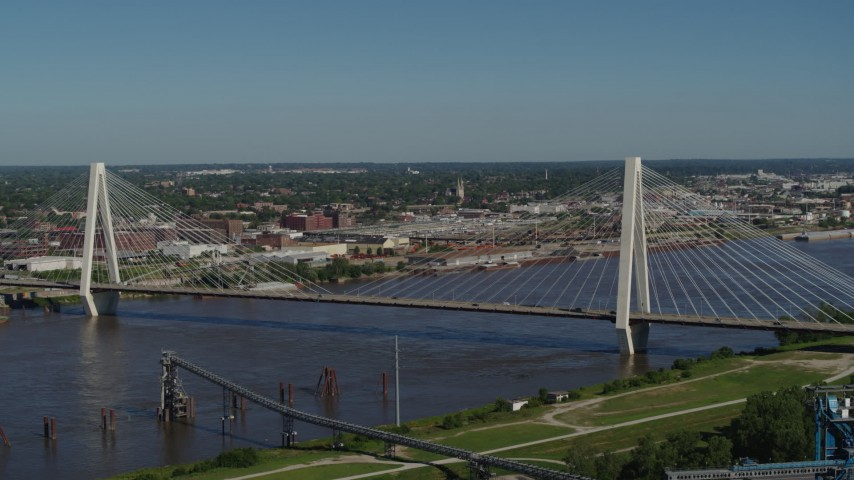 5.7K stock footage aerial video of passing by the Stan Musial Veterans Memorial Bridge in St. Louis, Missouri Aerial Stock Footage | DX0001_000604