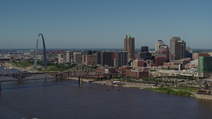 5.7K stock footage aerial video of a slow approach to Downtown St. Louis, Missouri skyline from the Mississippi River Aerial Stock Footage | DX0001_000605