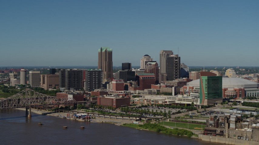 5.7K aerial video of flying away from downtown's hotels and skyscrapers, Downtown St. Louis, Missouri Aerial Stock Footage | DX0001_000610