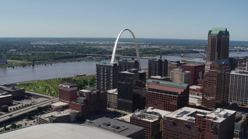 5.7K aerial video of the Mississippi River, the Arch and Downtown St. Louis, Missouri Aerial Stock Footage | DX0001_000620