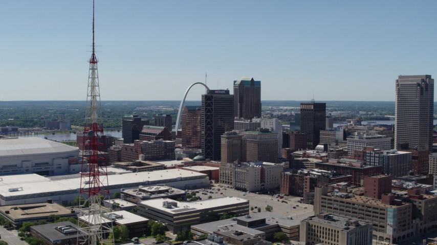 5.7K stock footage aerial video a view of Downtown St. Louis, Missouri, revealing a radio tower Aerial Stock Footage | DX0001_000630