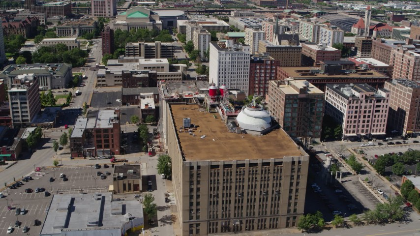 5.7K stock footage aerial video approach the rooftop of City Museum in Downtown St. Louis, Missouri Aerial Stock Footage | DX0001_000631