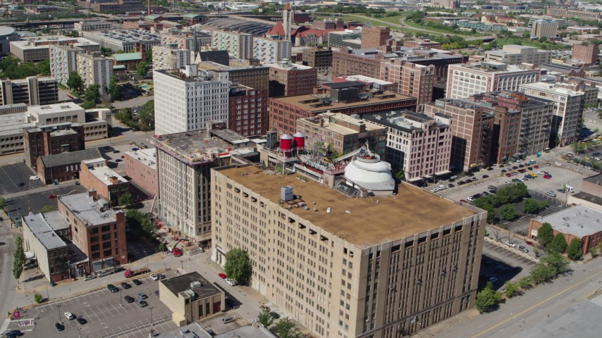 5.7K aerial video reverse view of City Museum in Downtown St. Louis, Missouri Aerial Stock Footage | DX0001_000632