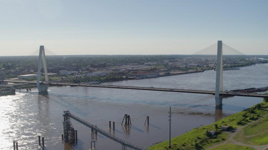 5.7K aerial video of the Stan Musail Veterans Memorial Bridge in St. Louis, Missouri Aerial Stock Footage | DX0001_000648