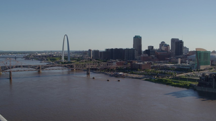 5.7K stock footage aerial video fly away from the Mississippi River and Downtown St. Louis, Missouri Aerial Stock Footage | DX0001_000654
