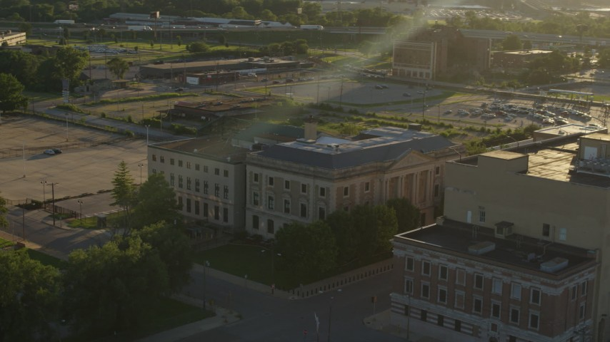 5.7K stock footage aerial video of an orbit of a federal courthouse at sunset, East St. Louis, Illinois Aerial Stock Footage | DX0001_000689