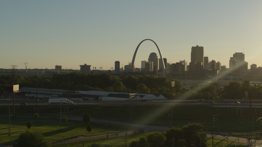 5.7K aerial video of the Gateway Arch and Downtown St. Louis, Missouri skyline at sunset Aerial Stock Footage | DX0001_000696