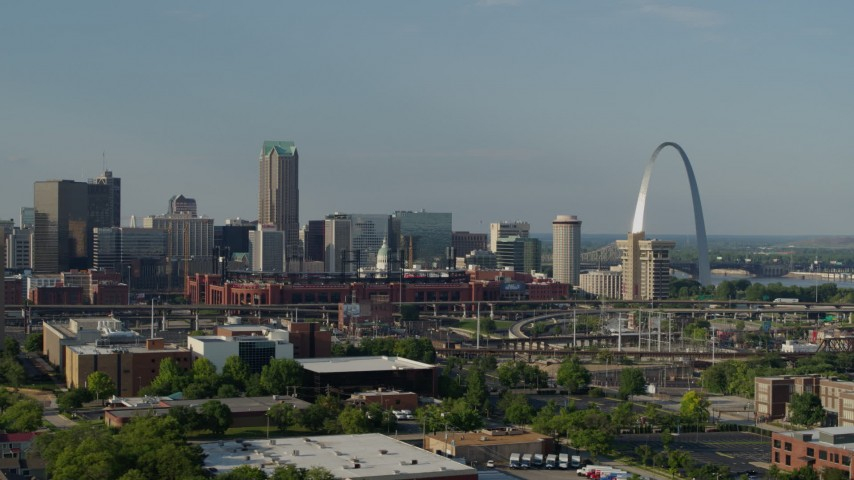 5.7K stock footage aerial video flyby the stadium near the Gateway Arch in Downtown St. Louis, Missouri Aerial Stock Footage | DX0001_000818