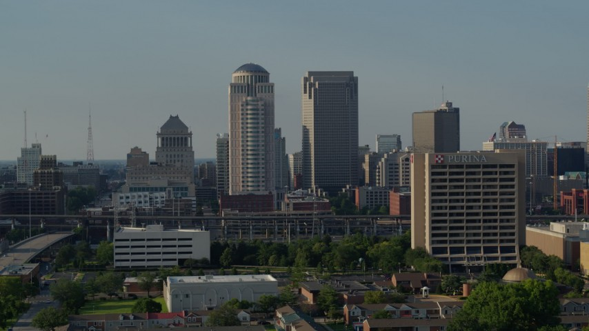 5.7K aerial video of tall skyscrapers and reveal an office building in Downtown St. Louis, Missouri Aerial Stock Footage | DX0001_000821