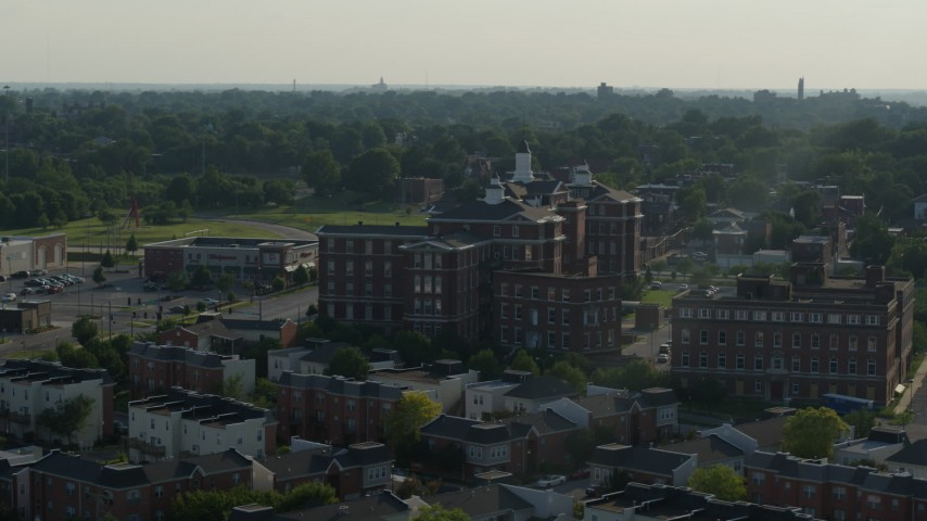 5.7K stock footage aerial video of a brick condo complex in St. Louis, Missouri Aerial Stock Footage | DX0001_000823