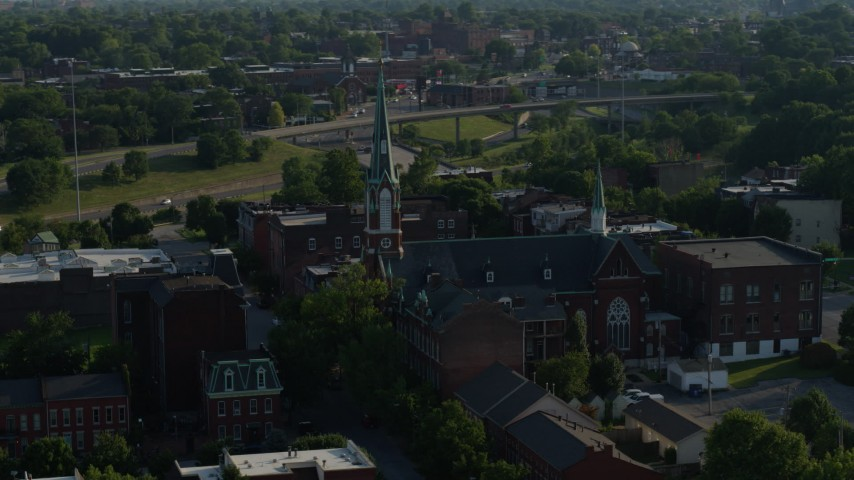 5.7K stock footage aerial video of orbiting a church in St. Louis, Missouri Aerial Stock Footage | DX0001_000824