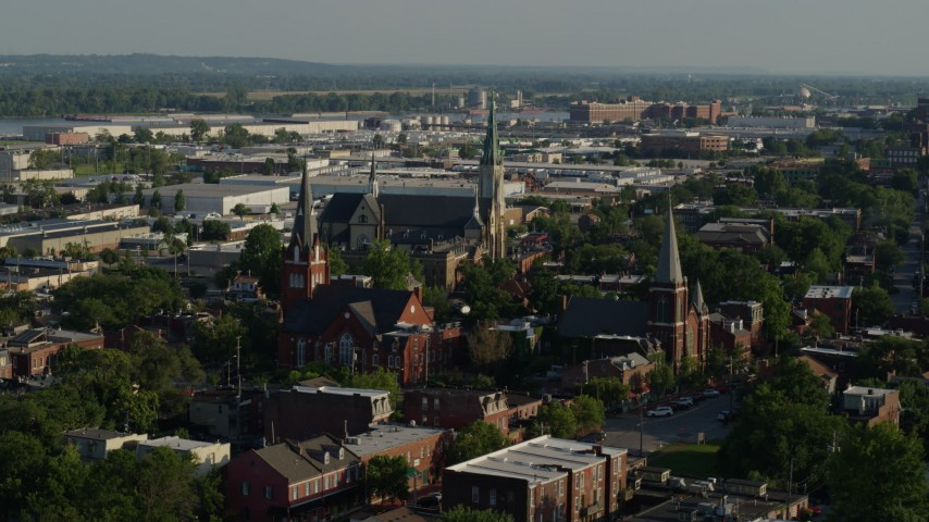 5.7K stock footage aerial video of approaching three churches in St. Louis, Missouri Aerial Stock Footage | DX0001_000825