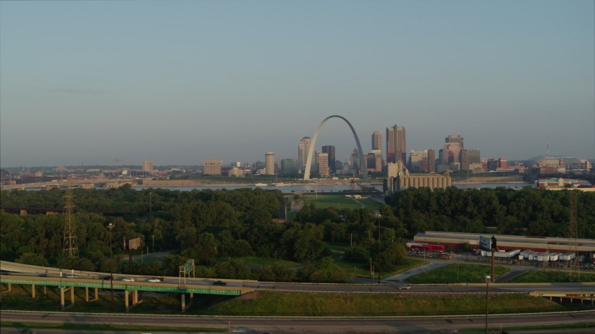 5.7K stock footage aerial video a view of the Gateway Arch from East St. Louis in the morning, Downtown St. Louis, Missouri Aerial Stock Footage | DX0001_000965