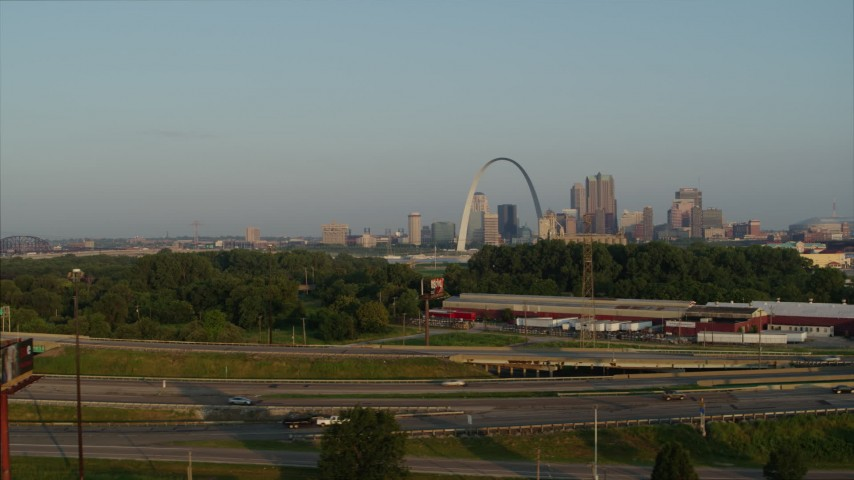 5.7K stock footage aerial video ascend for a view of the Gateway Arch from East St. Louis in the morning, Downtown St. Louis, Missouri Aerial Stock Footage | DX0001_000966
