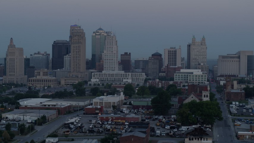 5.7K stock footage aerial video of the city's tall skyscrapers at twilight in Downtown Kansas City, Missouri Aerial Stock Footage | DX0001_000981