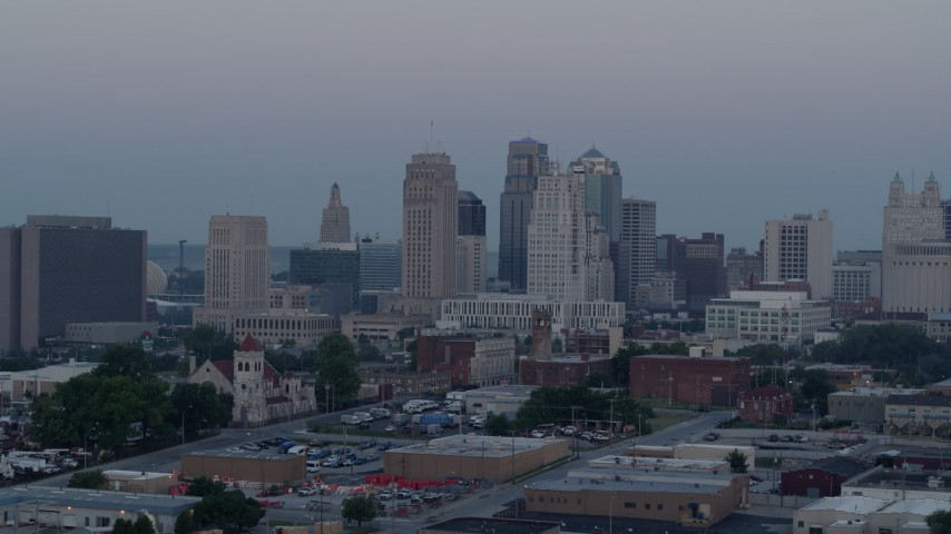 5.7K stock footage aerial video flyby the city's tall skyscrapers at twilight in Downtown Kansas City, Missouri Aerial Stock Footage | DX0001_000985