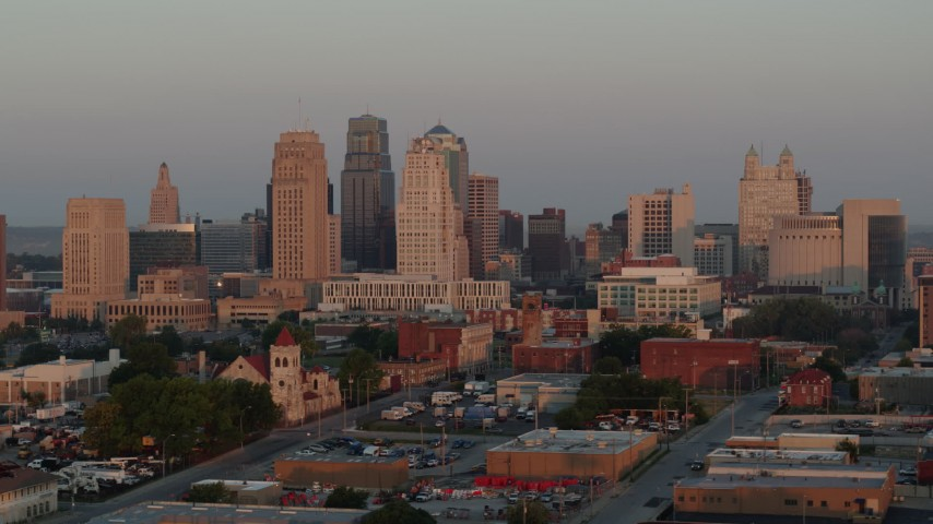5.7K stock footage aerial video of the city skyline at sunrise, Downtown Kansas City, Missouri Aerial Stock Footage | DX0001_000993
