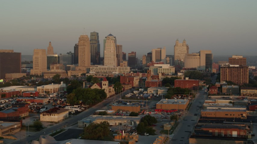 5.7K stock footage aerial video of the city skyline at sunrise, Downtown Kansas City, Missouri Aerial Stock Footage | DX0001_001002