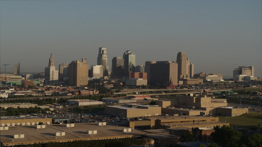 5.7K stock footage aerial video of the downtown skyline at sunrise, Downtown Kansas City, Missouri Aerial Stock Footage | DX0001_001014