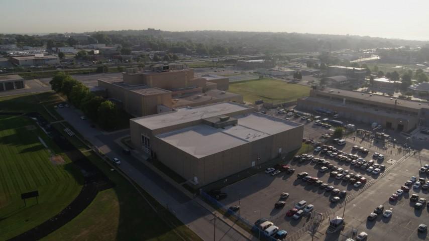 5.7K stock footage aerial video orbit adult education buildings in Kansas City, Missouri Aerial Stock Footage | DX0001_001043