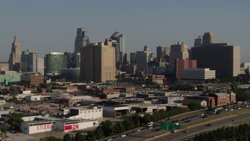 5.7K stock footage aerial video of a city office building and skyscrapers in Downtown Kansas City, Missouri Aerial Stock Footage | DX0001_001048
