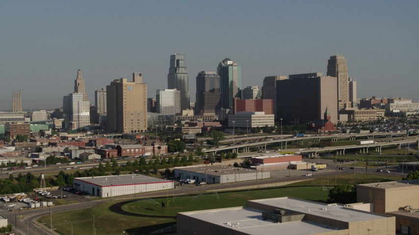 5.7K stock footage aerial video of a view of the city's skyline from east of the freeway in Downtown Kansas City, Missouri Aerial Stock Footage | DX0001_001057