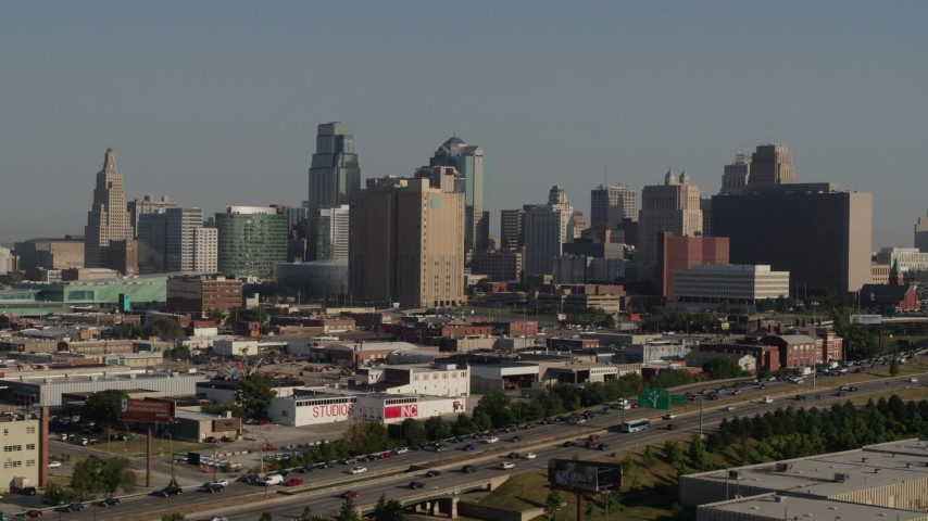 5.7K stock footage aerial video flyby the city's skyline from east of the freeway in Downtown Kansas City, Missouri Aerial Stock Footage | DX0001_001059