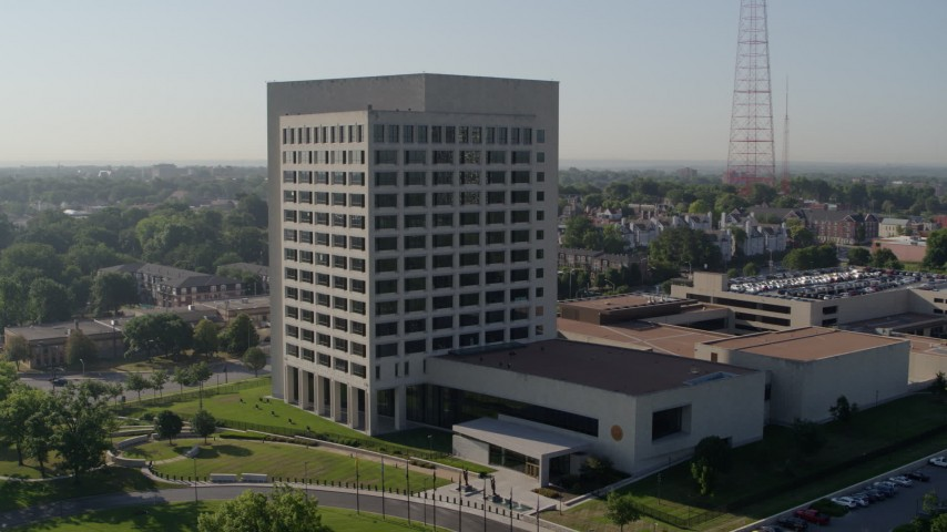 5.7K stock footage aerial video of an orbit of a government office building in Kansas City, Missouri Aerial Stock Footage | DX0001_001062