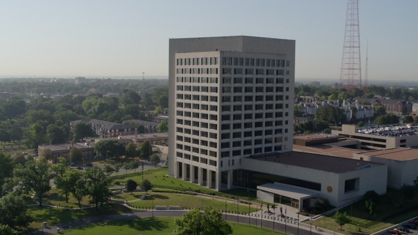 5.7K stock footage aerial video of orbiting around an office building in Kansas City, Missouri Aerial Stock Footage | DX0001_001065