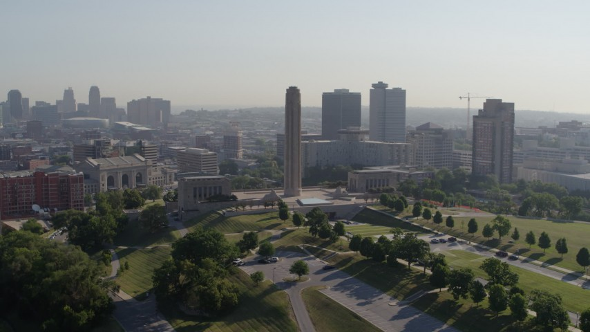 5.7K stock footage aerial video of a stationary view of the WWI memorial in Kansas City, Missouri Aerial Stock Footage | DX0001_001067