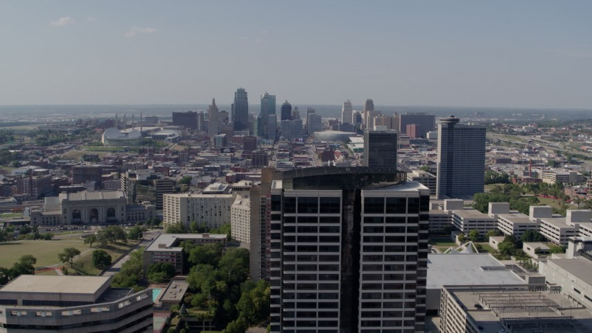 5.7K stock footage aerial video of the city skyline seen from Crown Center, Downtown Kansas City, Missouri Aerial Stock Footage | DX0001_001083