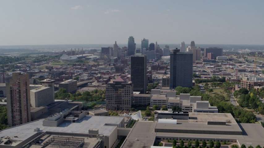 5.7K stock footage aerial video of the city skyline seen from Crown Center office buildings, Downtown Kansas City, Missouri Aerial Stock Footage | DX0001_001084