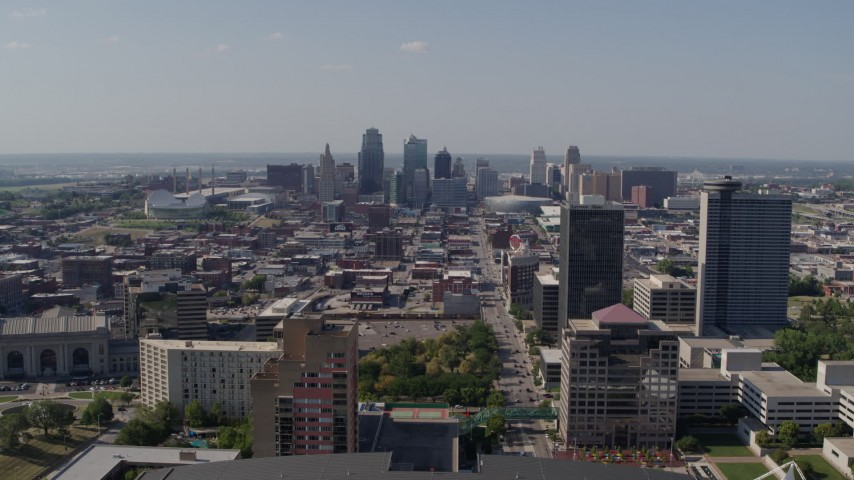 5.7K stock footage aerial video fly over Crown Center office building, approach Downtown Kansas City, Missouri Aerial Stock Footage | DX0001_001091
