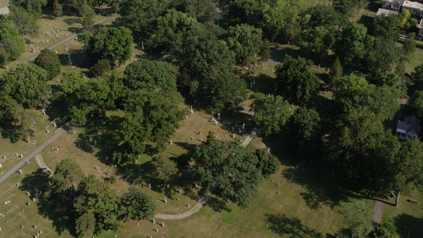 5.7K stock footage aerial video of orbiting a cemetery in Kansas City, Missouri Aerial Stock Footage | DX0001_001092