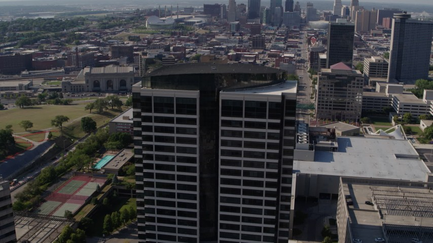 5.7K stock footage aerial video of approaching a Crown Center office building in Kansas City, Missouri Aerial Stock Footage | DX0001_001093