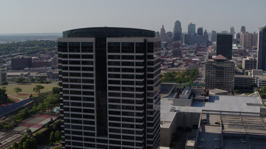 5.7K stock footage aerial video of orbiting a Crown Center office building in Kansas City, Missouri Aerial Stock Footage | DX0001_001094