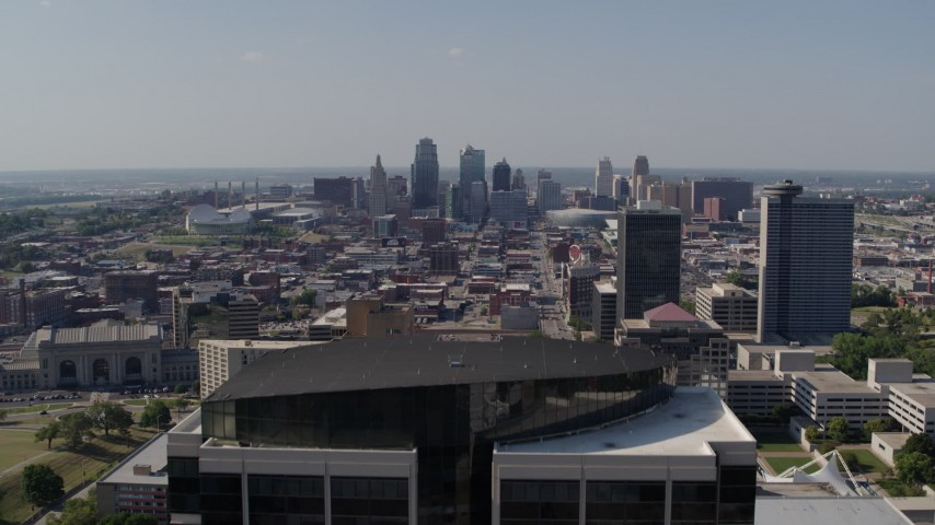 5.7K stock footage aerial video fly over Crown Center office building and reveal skyline of Downtown Kansas City, Missouri Aerial Stock Footage | DX0001_001098