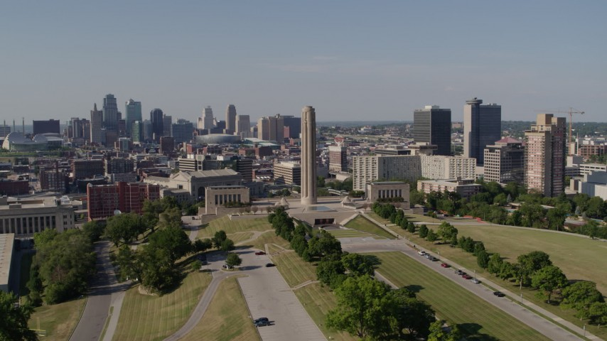 5.7K stock footage aerial video orbit the WWI memorial, with view of Downtown Kansas City, Missouri skyline, and Crown Center Aerial Stock Footage | DX0001_001107