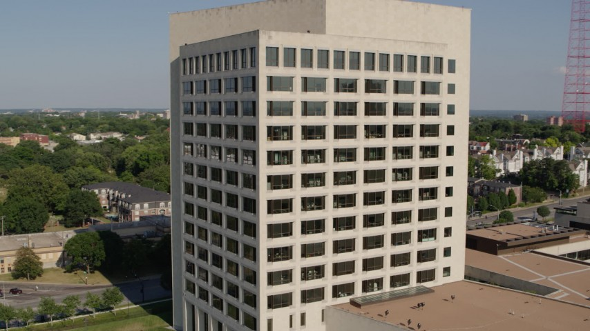 5.7K stock footage aerial video orbit and fly away from a government office building in Kansas City, Missouri Aerial Stock Footage | DX0001_001117