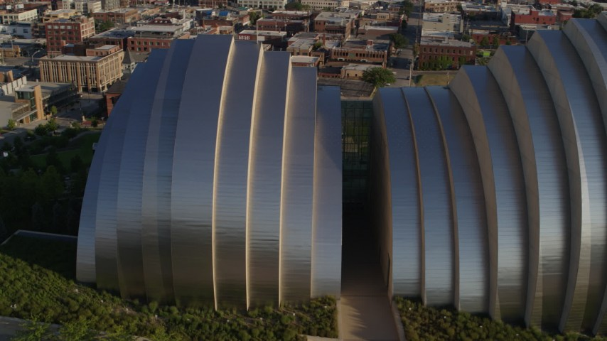 5.7K stock footage aerial video an orbit of a concert hall in Downtown Kansas City, Missouri Aerial Stock Footage | DX0001_001138
