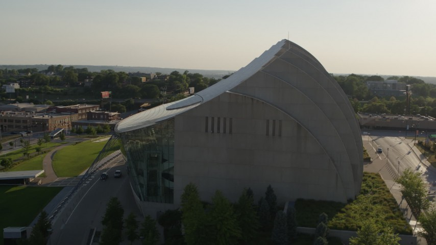 5.7K stock footage aerial video stationary view and orbit of a concert hall in Downtown Kansas City, Missouri Aerial Stock Footage | DX0001_001142