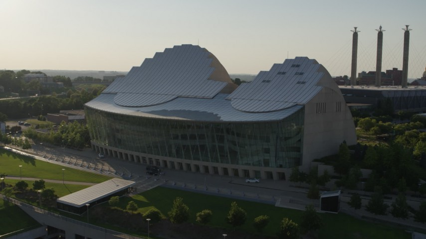 5.7K stock footage aerial video orbit a concert hall in Downtown Kansas City, Missouri Aerial Stock Footage | DX0001_001143