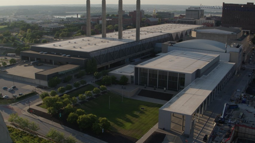 5.7K stock footage aerial video of a reverse view of the convention center in Downtown Kansas City, Missouri Aerial Stock Footage | DX0001_001146