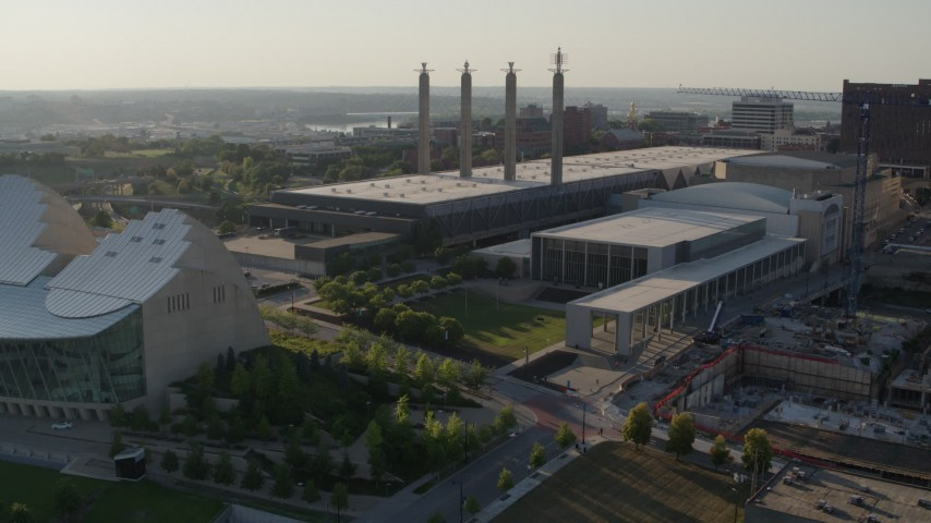 5.7K stock footage aerial video of a stationary view of the convention center in Downtown Kansas City, Missouri Aerial Stock Footage | DX0001_001147