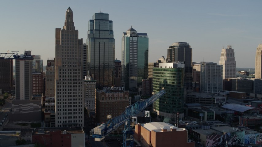 5.7K stock footage aerial video of tall skyscrapers in Downtown Kansas City, Missouri Aerial Stock Footage | DX0001_001151