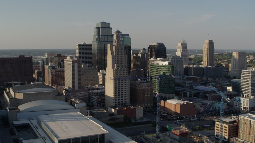 5.7K stock footage aerial video of a reverse view of tall skyscrapers in Downtown Kansas City, Missouri Aerial Stock Footage | DX0001_001153
