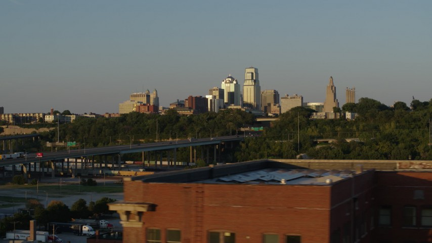 5.7K stock footage aerial video of the city's skyline and freeway at sunset in Downtown Kansas City, Missouri Aerial Stock Footage | DX0001_001163