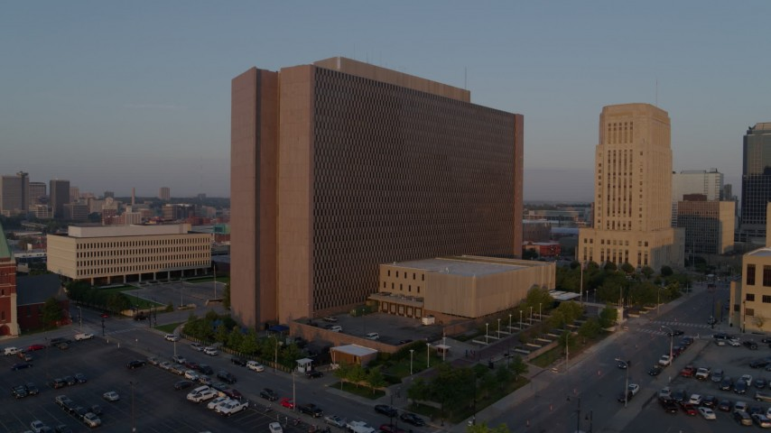5.7K stock footage aerial video approach a government building at sunrise, Downtown Kansas City, Missouri Aerial Stock Footage | DX0001_001204